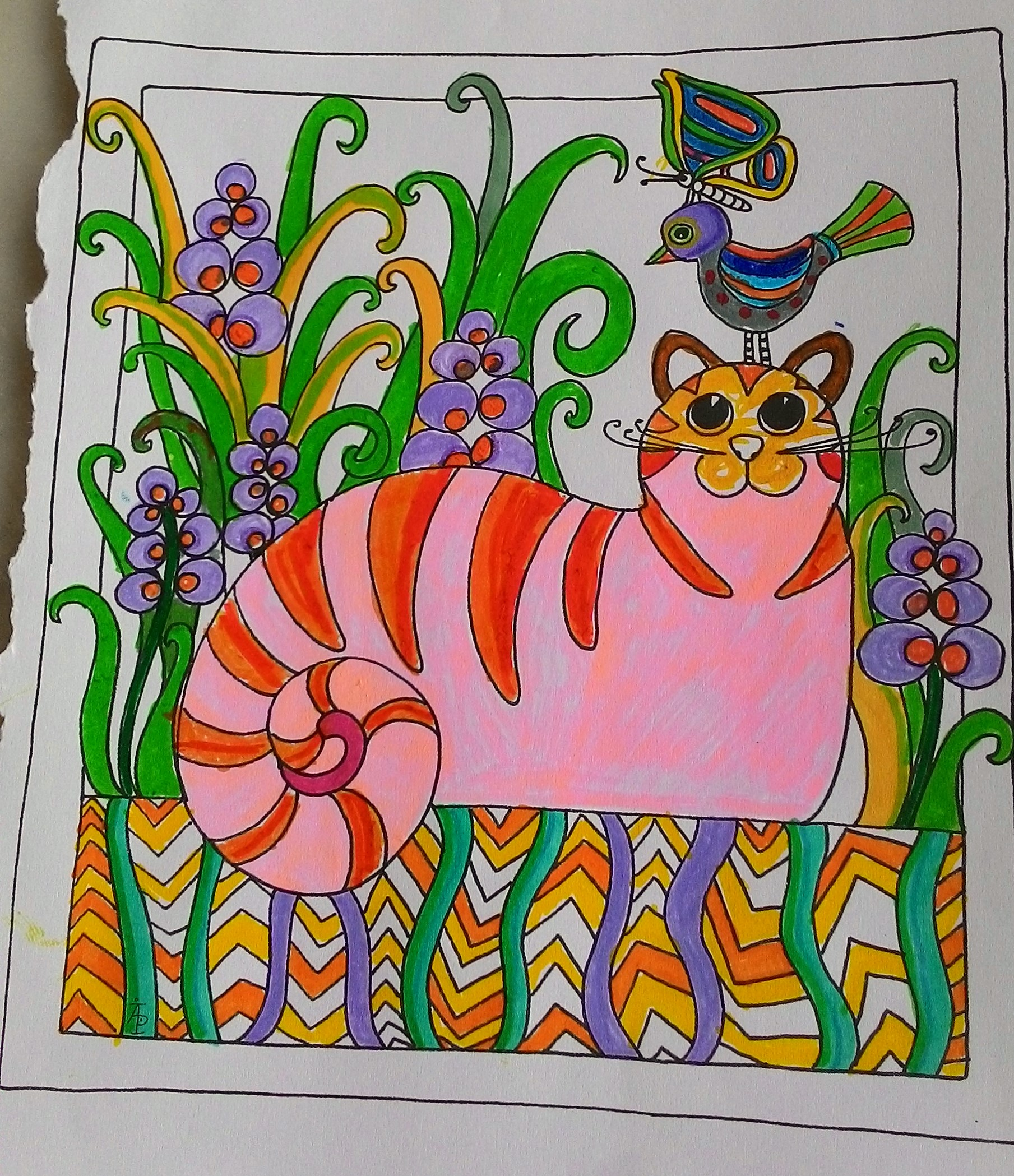 Colouring in for adults examples - Cat